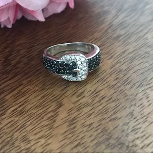 Sterling Silver Buckle Ring With light & dark CZs